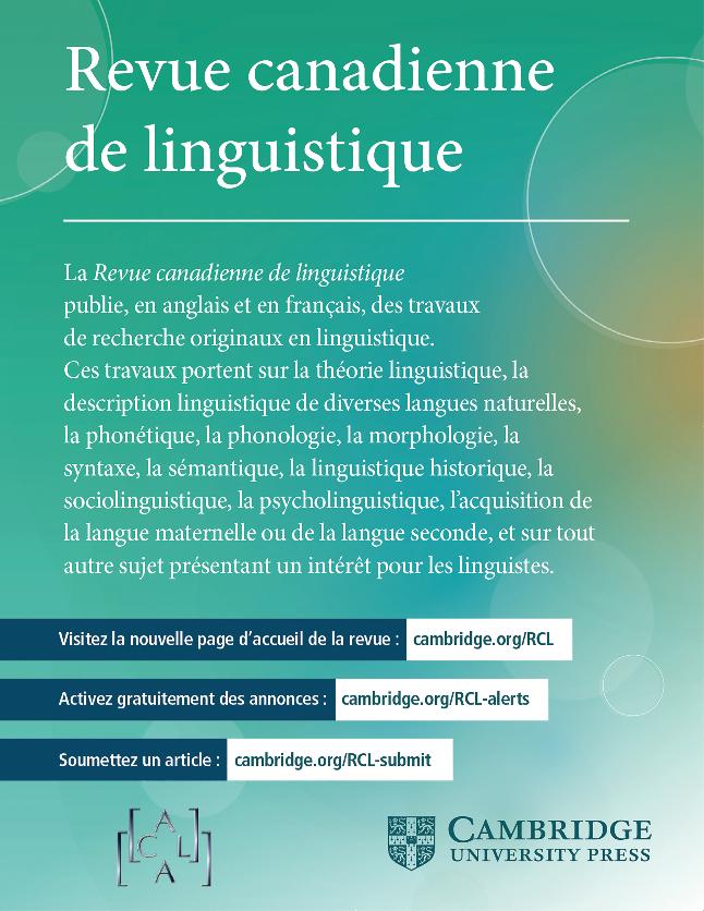 dépliant faisant la promotion de la Revue canadienne de linguistique